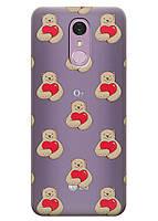 Прозрачный силиконовый чехол iSwag для LG Q7 с рисунком - Влюбленные медведи H543, КОД: 1398948