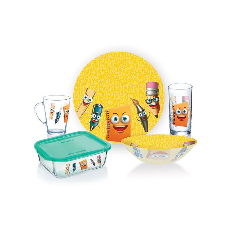 Набір дитячий столового посуду 5 предметів Luminarc Stationery P7866.