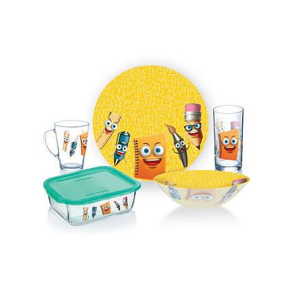 Набір дитячий столового посуду 5 предметів Luminarc Stationery P7866., фото 2