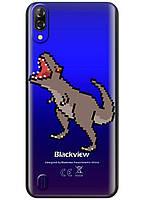 Прозрачный силиконовый чехол iSwag для Blackview A60 с рисунком - Пикселький динозавр H611, КОД: 1429073