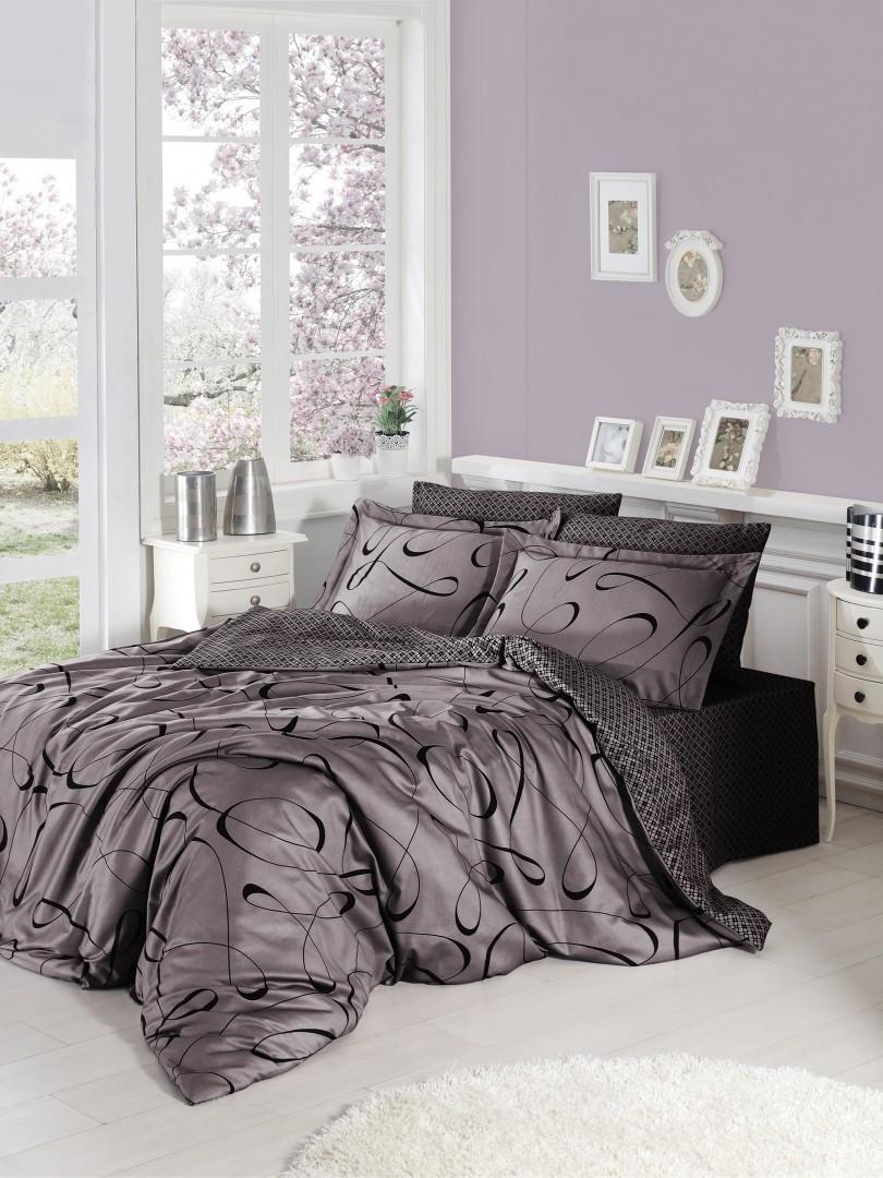 Комплект постельного белья First Choice Satin Calisto Leylak 160х220х2 Семейный
