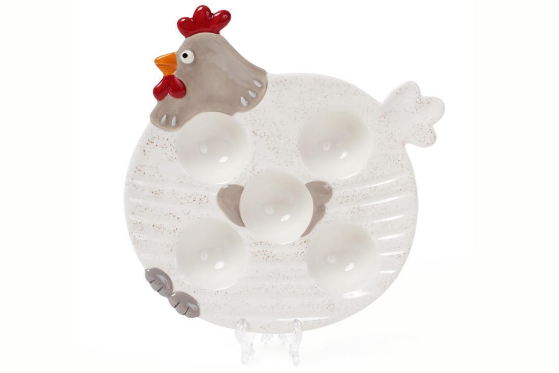 """Керамічна тарілочка для 5 яєць """"Курочка"""" 21см, 834-740"""