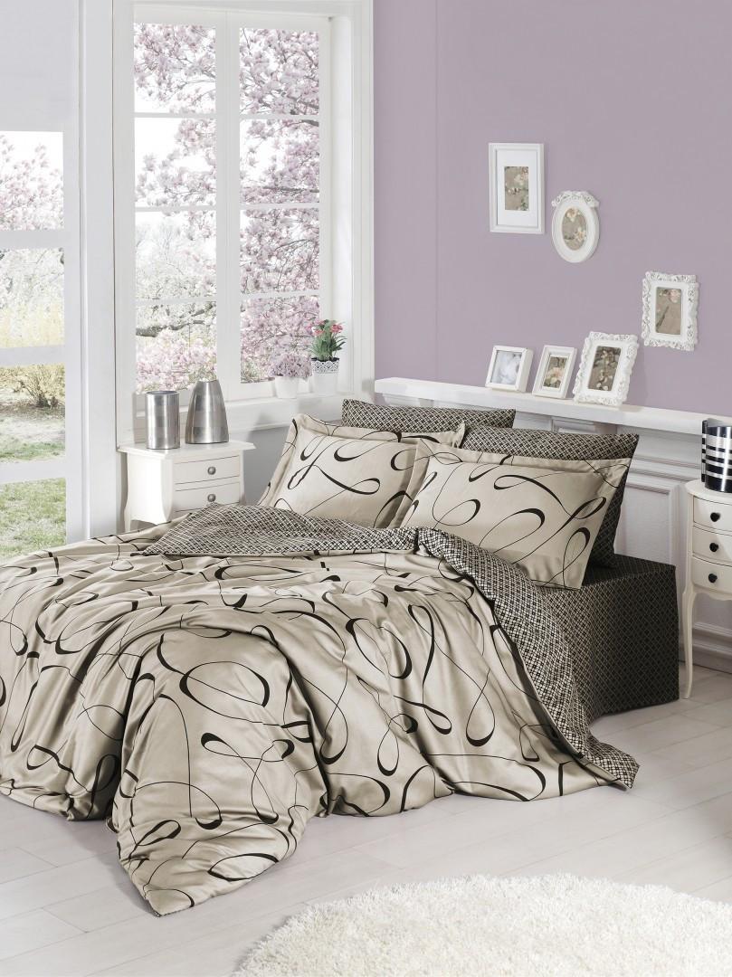 Комплект постельного белья First Choice Satin Advina Vizon 160х220х2 Семейный