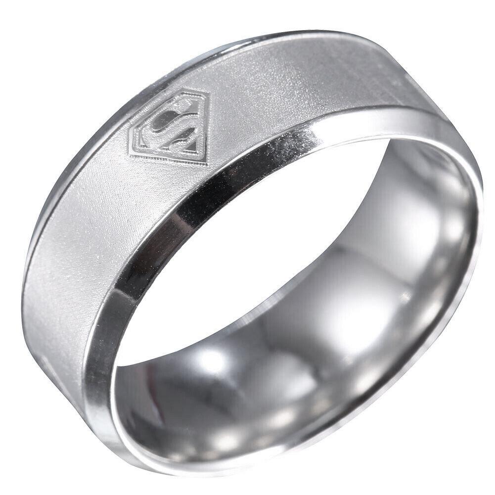 """Кольцо из нержавеющей стали """"Супермен"""", серебристое анодирование, 1359КЖ"""
