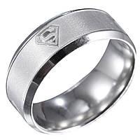 """Кольцо из нержавеющей стали """"Супермен"""", серебристое анодирование, 1359КЖ, фото 1"""
