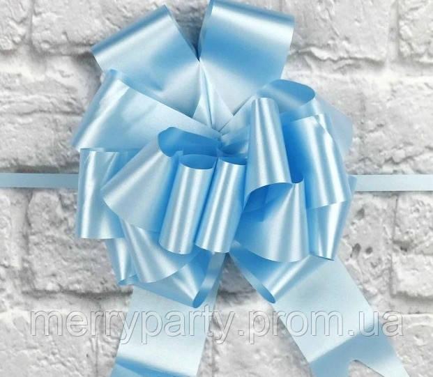 Бант-затяжка (ш. ленты 4,5 см, д. 17 см) голубой для упаковки подарков полипропилен