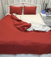 Льняная постель комплект KonopliUA 140х205 см Красно - серый  1-117, КОД: 1532331