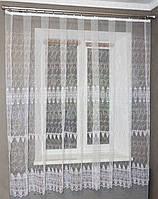 Кухонная тюль короткая белая с вышивкой, фото 1