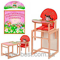 Детский деревянный стульчик для кормления M V-122-4
