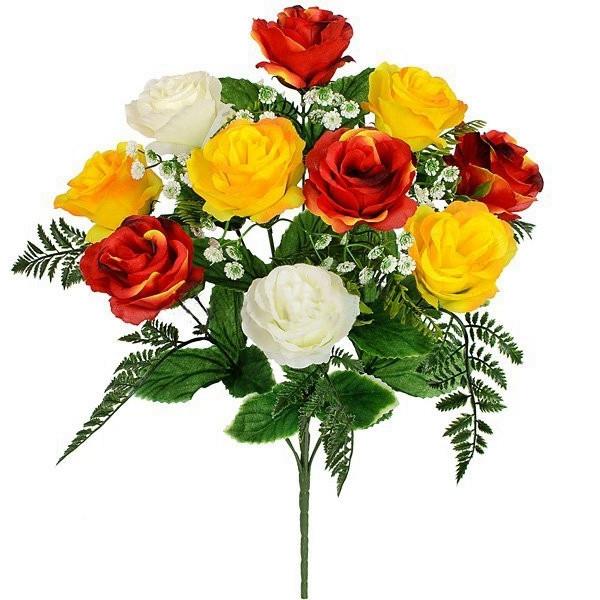 Букет троянди потрійний мікс, 57см (5 шт. в уп.)