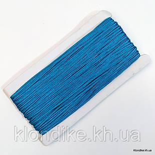 Шнур сутажный, плоский, ширина: 3 мм, Цвет: Голубой (5 метров)