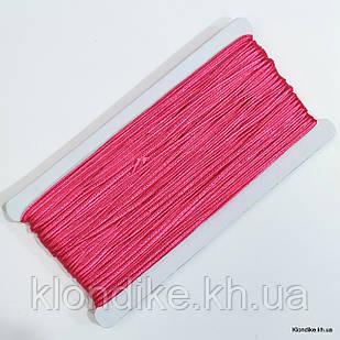 Шнур сутажный, плоский, ширина: 3 мм, Цвет: Малиновый (5 метров)
