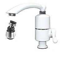 Кран водонагреватель проточный Delimano 3000 Вт + аэратор поворотный Белый 100086, КОД: 285039