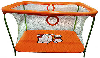 Манеж игровой KinderBox с крупной сеткой Оранжевый km 53, КОД: 369354