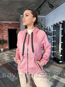 Женская замшевая кофта с капюшоном ,в расцветках. СП-2-0320