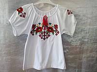 """Вышиванка девочкам """"Маки, подсолнухи, васильки, калина"""" красная вышивка крестиком, короткий рукав 0029"""