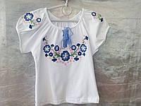 Вышиванка девочкам с сине-розовыми цветочками, самая красивая, короткий рукав 0029