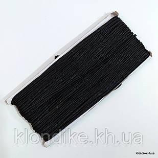 Шнур сутажный, плоский, ширина: 3 мм, Цвет: Черный (5 метров)