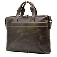 Кожаная тонкая сумка для ноутбука GC-0042-4lx коричневая от TARWA