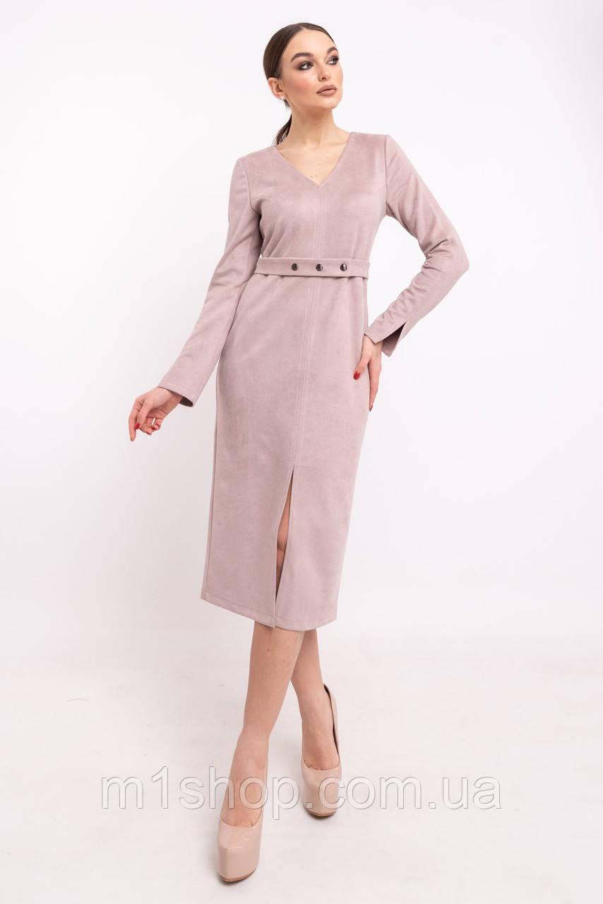 Лаконичное офисное платье миди с оригинальными элементами (Линнея ri)