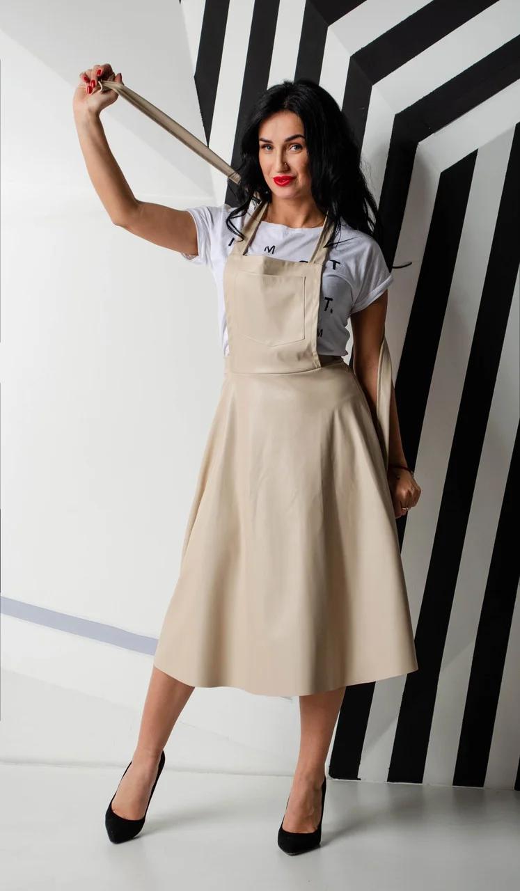 Молодежный сарафан-юбка трансформер из экокожи
