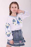 Дитяча вишиванка блуза для дівчинки д/р біле домоткане полотно Волошки