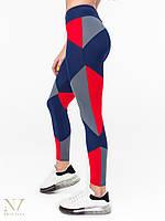 Лосины леггинсы спортивные женские Joker синие с красным и серым