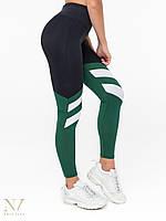 Лосины леггинсы спортивные женские Mari черные с зеленым и белым