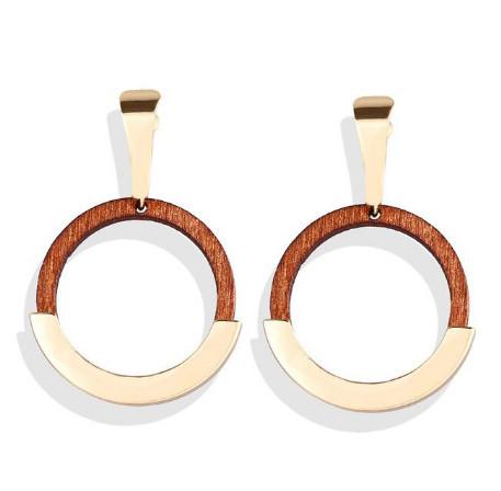 Модные деревянные серьги  - Кольца