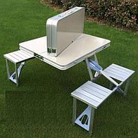 Туристический раскладной стол трансформер для пикника с 4 стульями