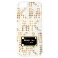 "Чехол-накладка для Apple iPhone 5/5S, поликарбонат с кожей, ""MK"", Michael Kors, Белый /case/кейс /айфон"
