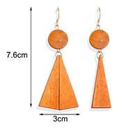 Разные модные деревянные серьги  -  Треугольник, фото 2