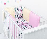 """Комплект постільних речей в ліжечко (9 предметів) """"Грація"""" (білий/рожевий/жовтий), фото 1"""