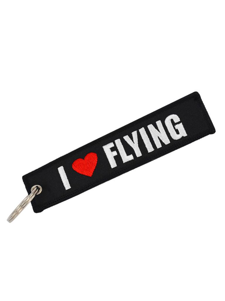 Брелок бирка I love flying Черный