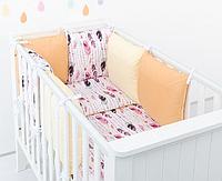 """Комплект постельных принадлежностей в кроватку (9 предметов) """"Мулан"""" (белый/персиковый/желтый), фото 1"""