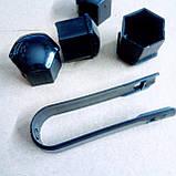 Защитные пластиковые крышки на колесные гайки 21 мм черные, фото 3