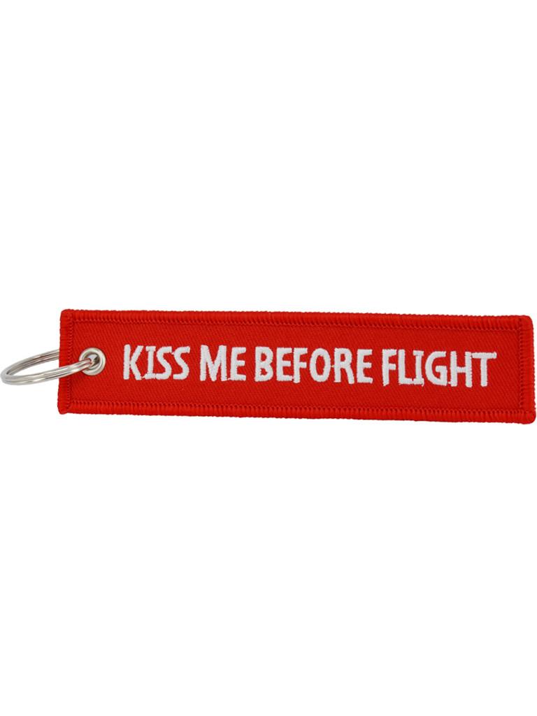 Брелок бирка Kiss Me Before Flight Красный