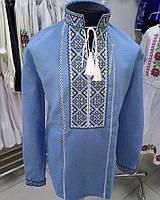 Дитяча вишиванка для хлопчика блакитне домоткане полотно д/р Зірка