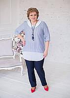 Блуза льняная в полоску с белым воротничком, фото 1