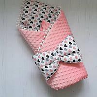 Конверт для выписки из роддома и прогулки розовый с сердцами ( для девочки)