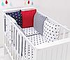 """Комплект постільних речей в ліжечко (9 предметів) """"Аріель"""" (білий/червоний/синій)"""
