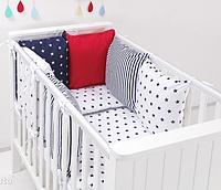 """Комплект постільних речей в ліжечко (9 предметів) """"Аріель"""" (білий/червоний/синій), фото 1"""