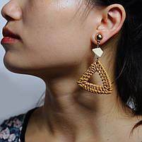 Модные серьги плетеные из ротанга - Треугольник, фото 2