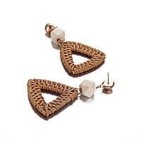 Модные серьги плетеные из ротанга - Треугольник, фото 3