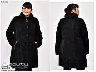 Женский весенний модный плащ с 3D рисунком, большого размера р- 54, 56, 58, 60, 62, 64, 66, 68, 70, 72 черный