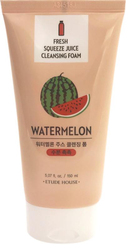 Ощищающая пенка для умывания лица с экстрактом сока арбуза Etude House Fresh Squeeze Juice Cleansing Foam Watermelon 150 мл (8806199489617)