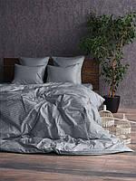 Комплект постельного белья GRAY 1/1см Страйп-сатин простыня на резинке