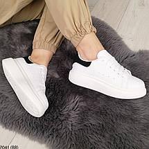 Білі кросівки з чорним задником, фото 2