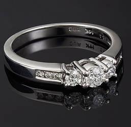 Жіноче кільце з білого золота з діамантами С39Л1№16