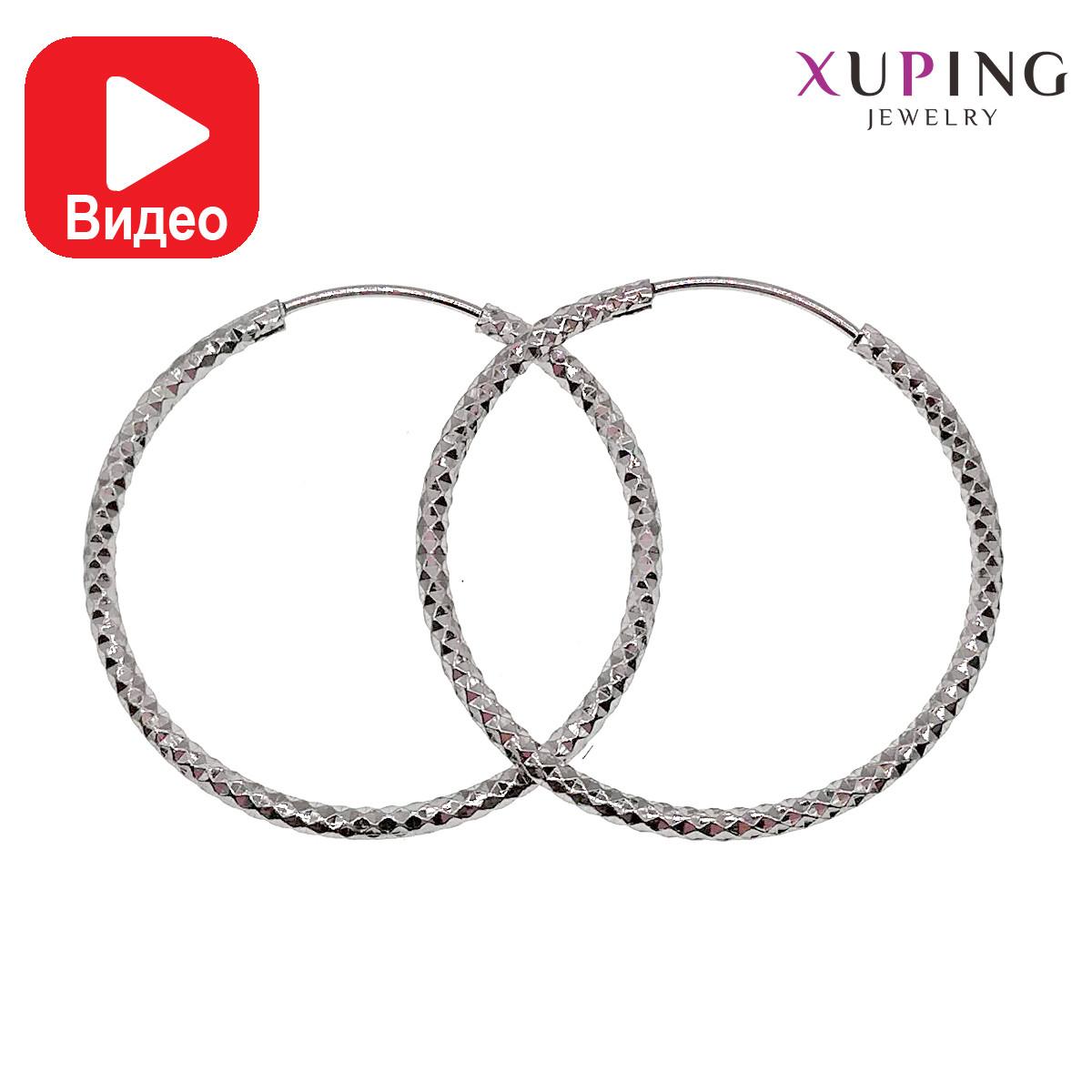 Серьги-кольца Xuping, размер 36х1,5 мм, из медицинского золота, покрыты родием, вес 3 г, ХР00455 (1)